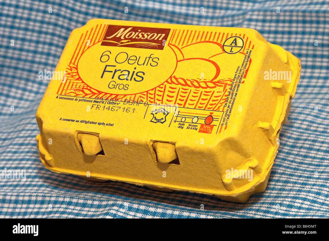 French carton / box of 6 large fresh eggs. Stock Photo