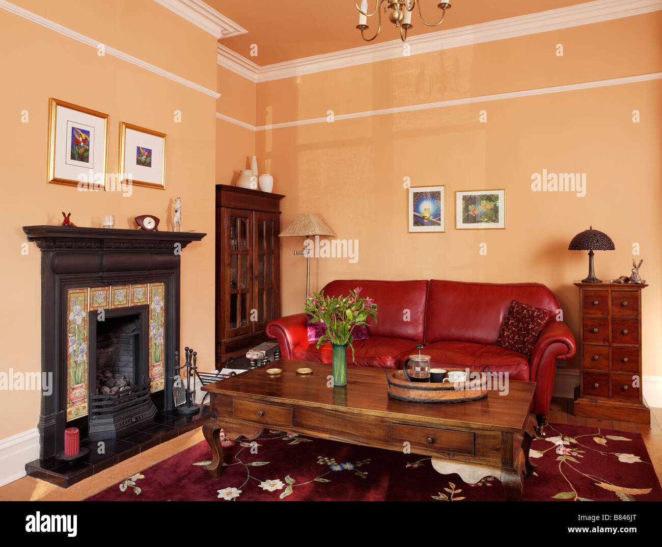 Amazing Traditional Living Room With Red Leather Sofa And Wooden Onthecornerstone Fun Painted Chair Ideas Images Onthecornerstoneorg
