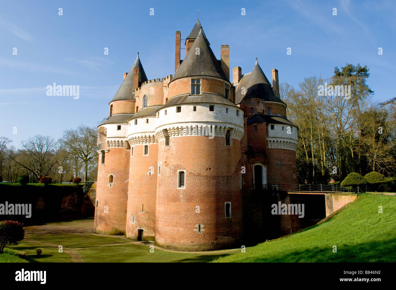 Chateau Fort de Rambures a 15th century feudal fortress in Picardy, France - Stock Image