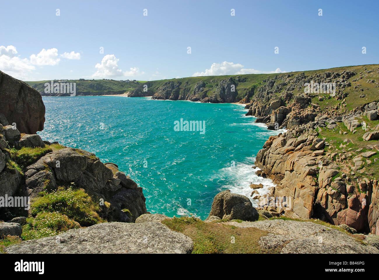 Logan Rock towards Porthcurno Cornwall UK - Stock Image