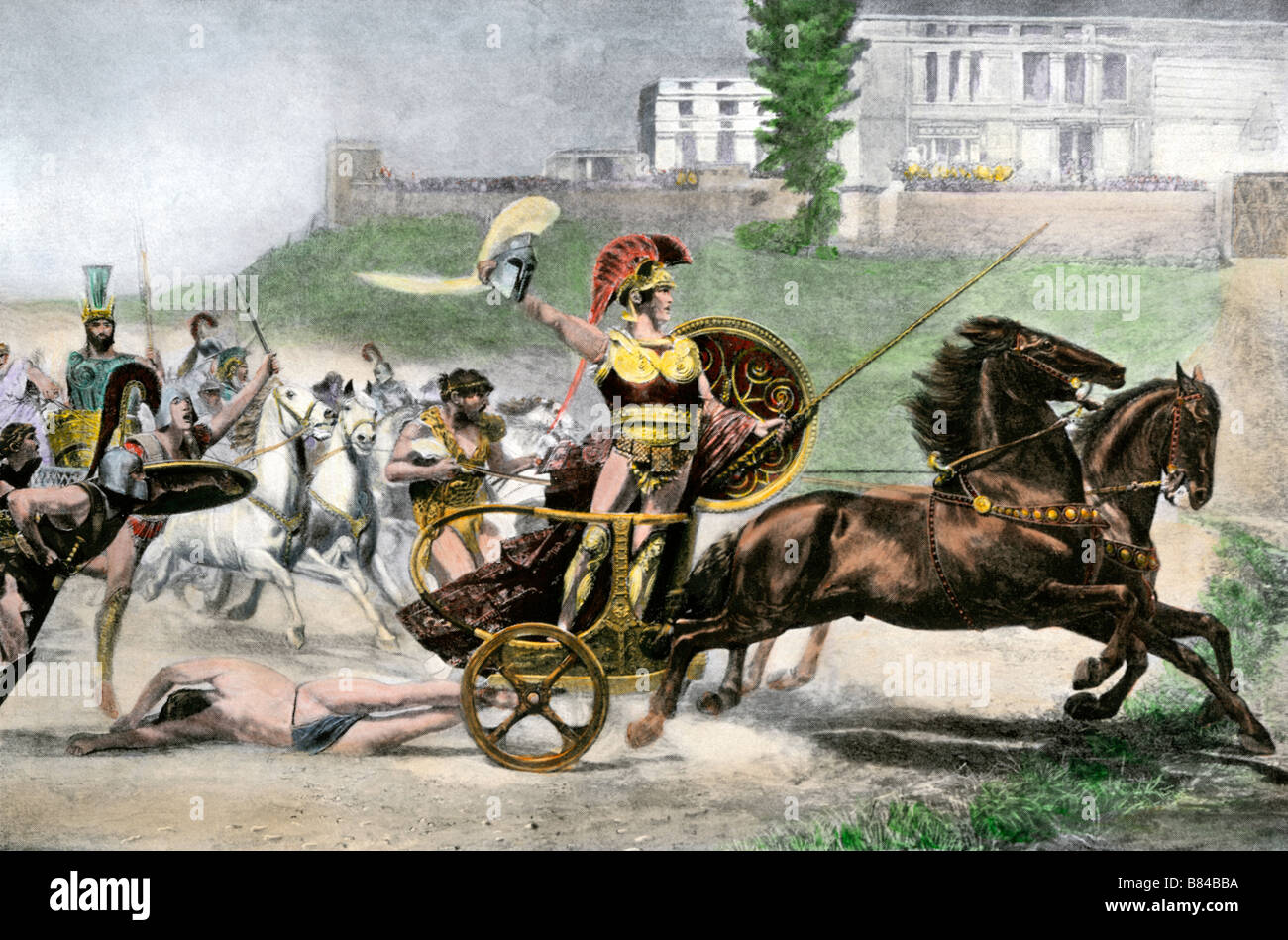 Greek hero Achilles dragging Hector's body behind his chariot in the Trojan wars - Stock Image