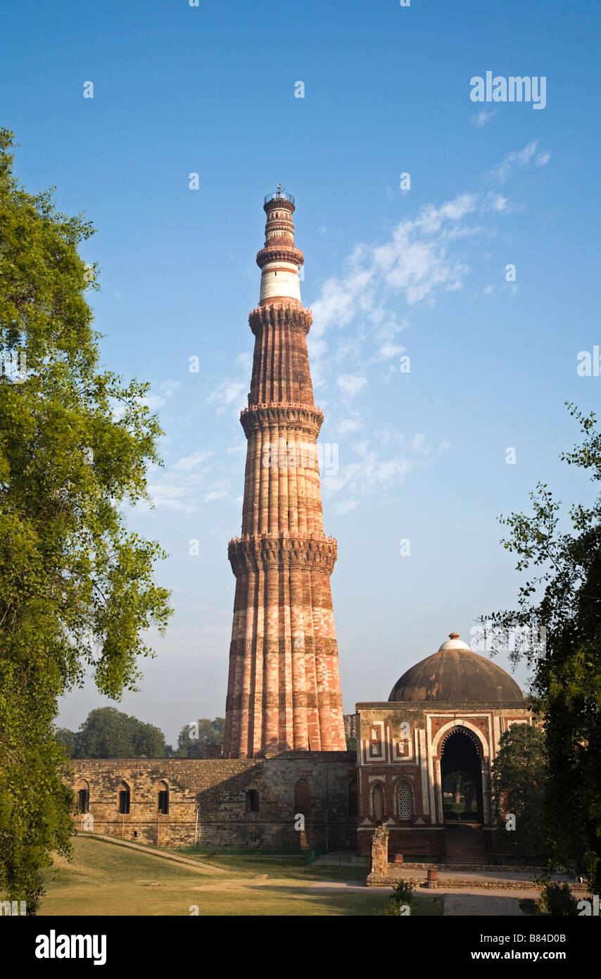 Qutab Minar the 73 meter high victory tower from 1193 in Delhi India - Stock Image