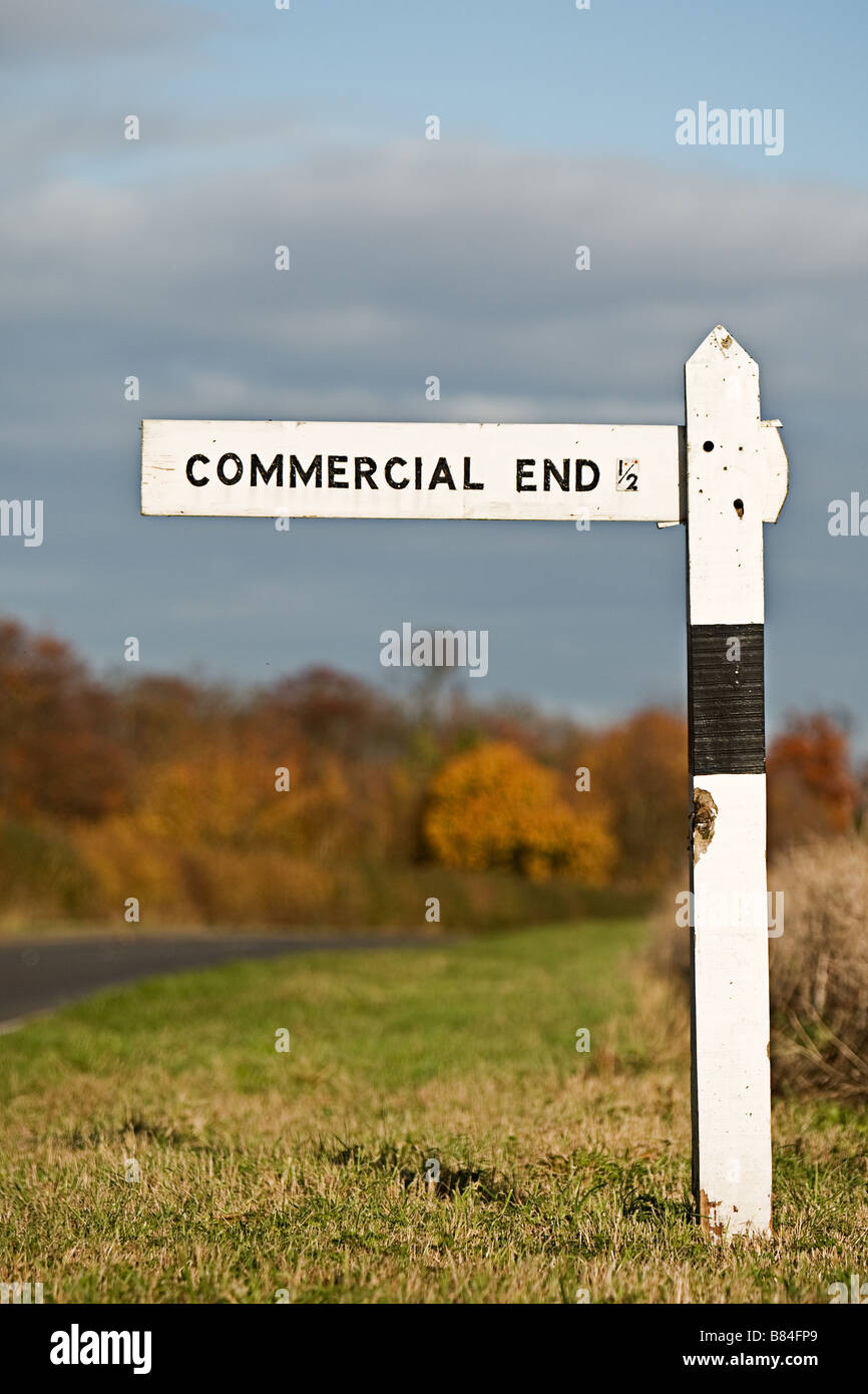 Sign Post showing the way to Commercial End, Cambs, UK - Stock Image