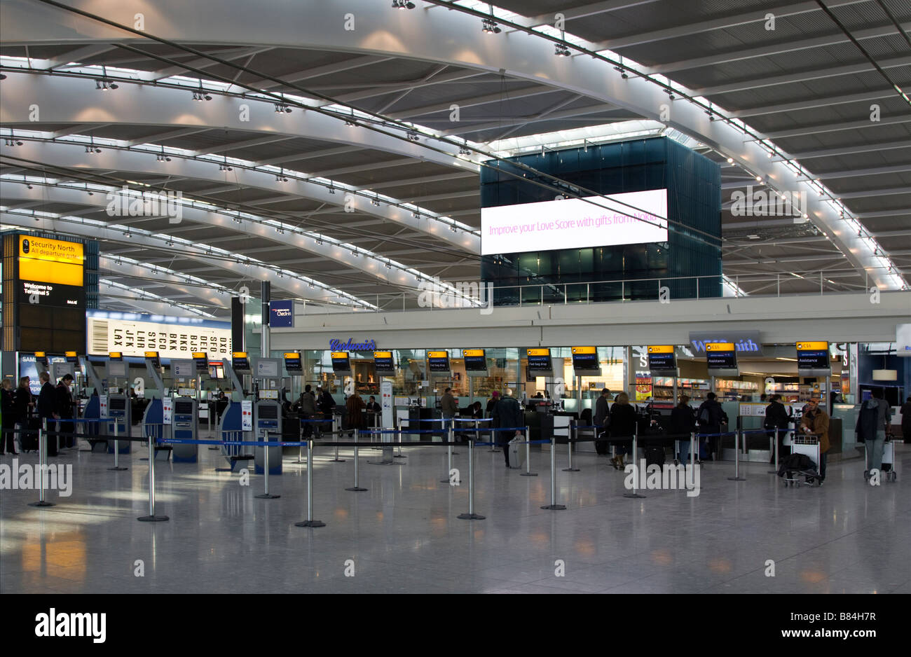 Heathrow Airport Terminal 5 Check-in Hall - London - Stock Image