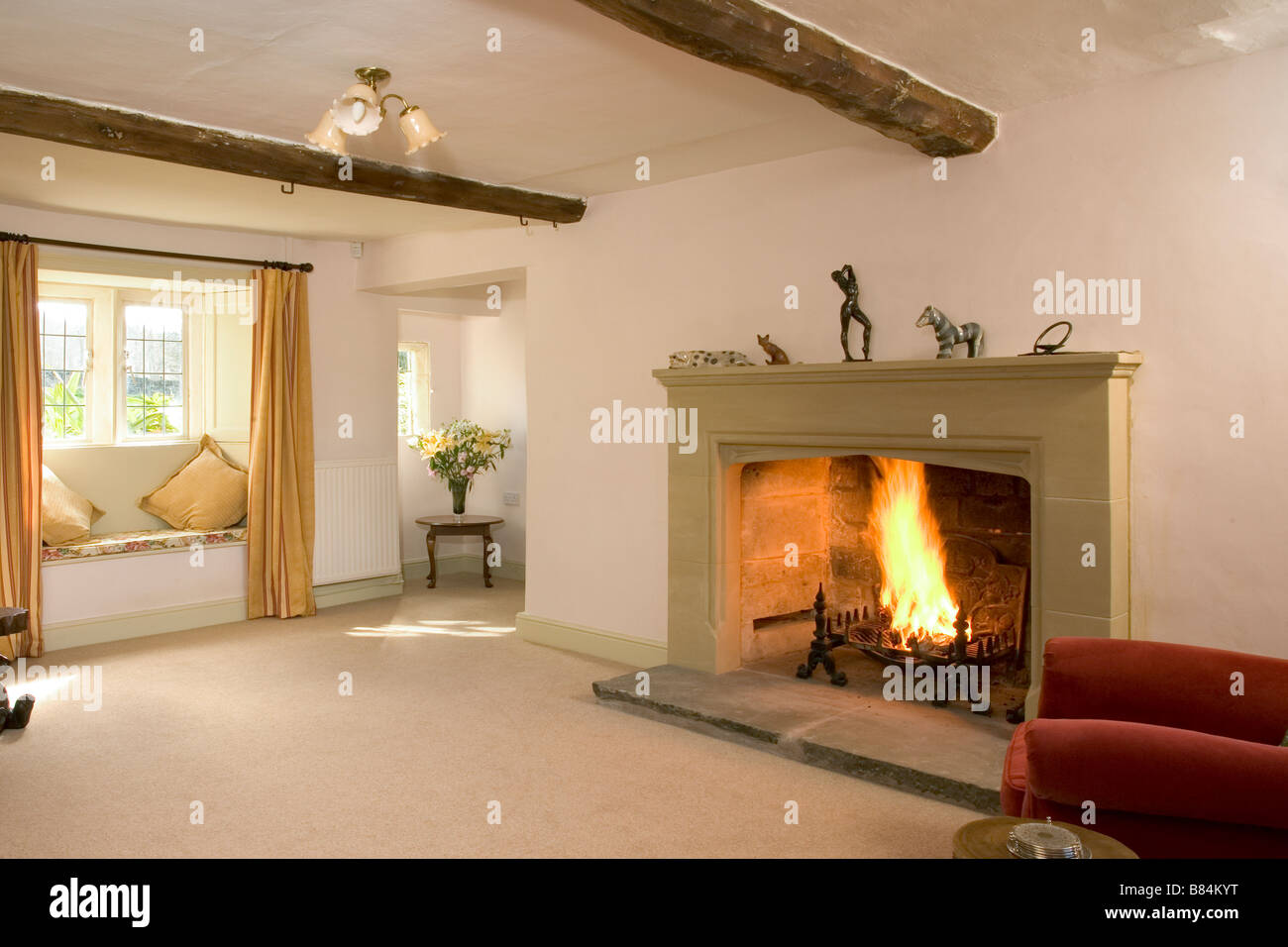 Uk A House Interior Large Open Fire Stock Photo 22231100