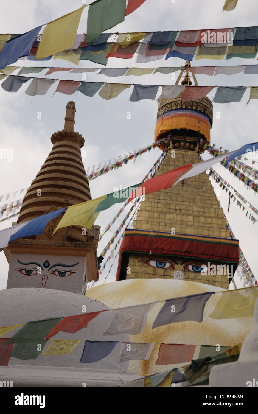 Bodnath the largest Buddhist stupa in the world - Stock Image