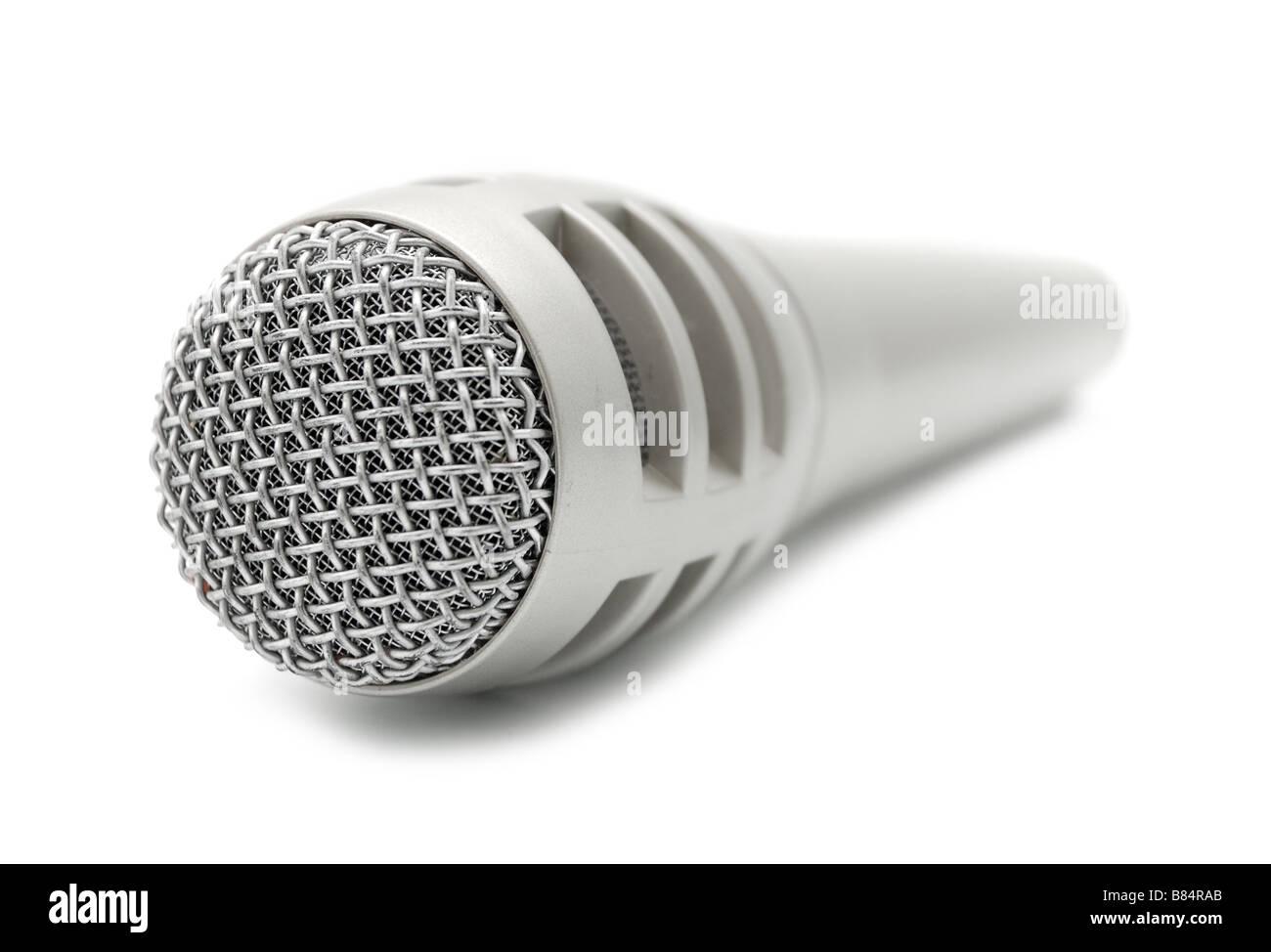 studio microphone isolaten on white - Stock Image