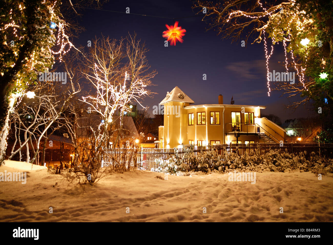 christmas illumination outside of the restaurant Objekt 5 in Halle (Saale), Germany - Stock Image