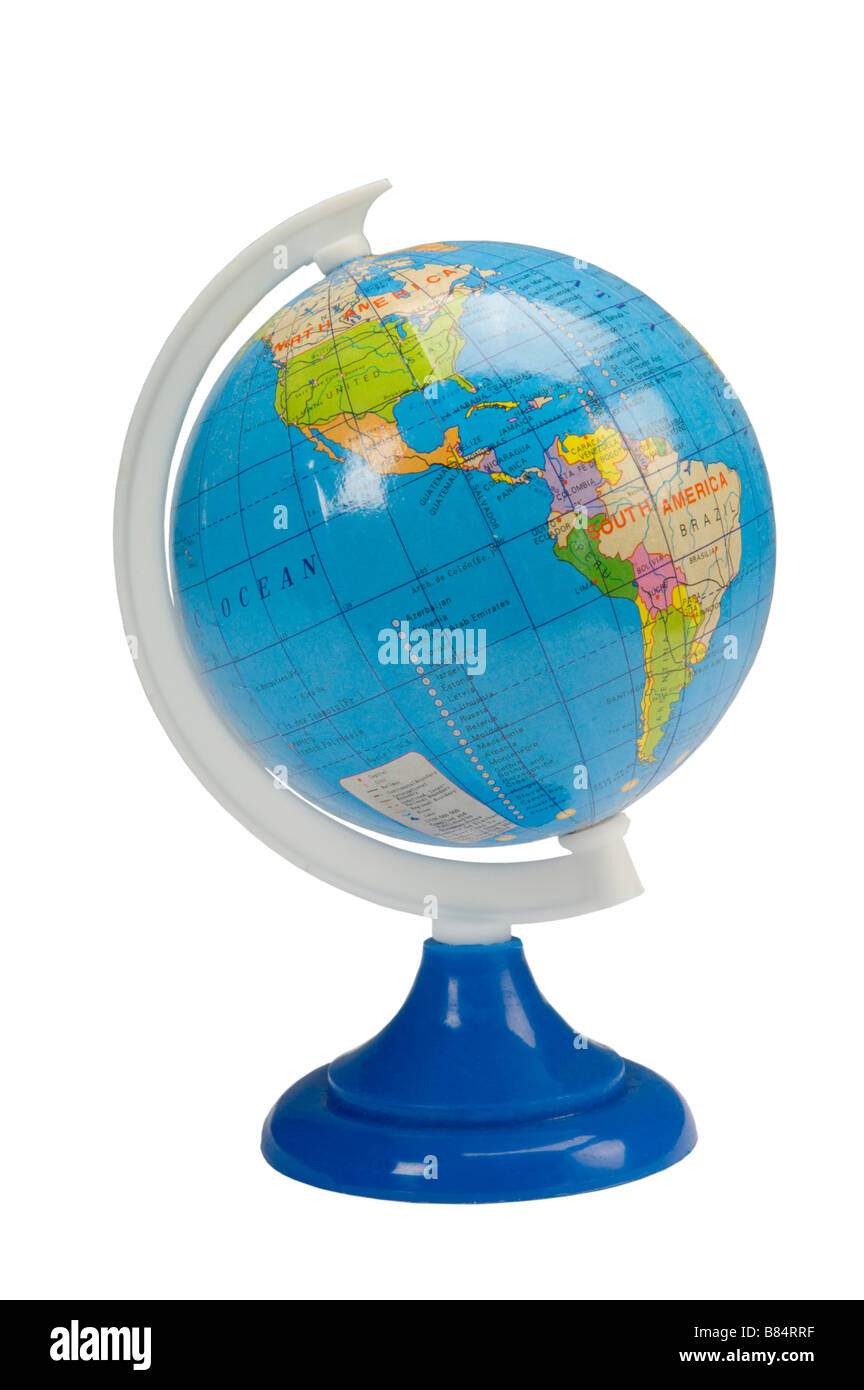 Model of earth globe on stand - Stock Image