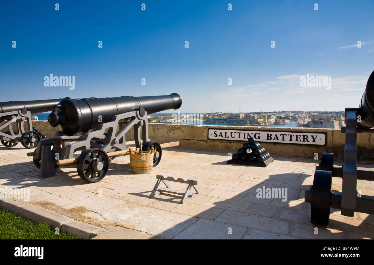 The noon day gun, over-looking grand harbour. Saluting Battery, Valletta, Malta. - Stock Image