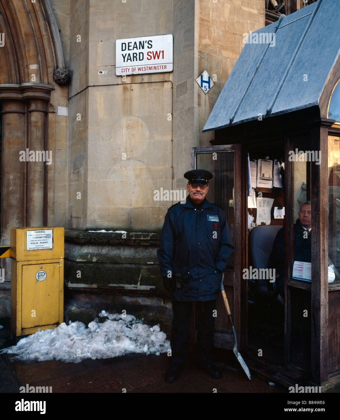 Security guards at Deans Yard. Westminster, London, England, UK. - Stock Image