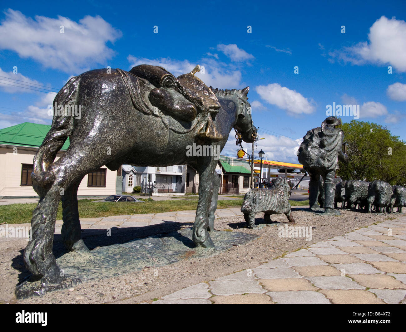 Statues of farmer and animals in Punta Arenas Patagonia, Chile, South America - Stock Image