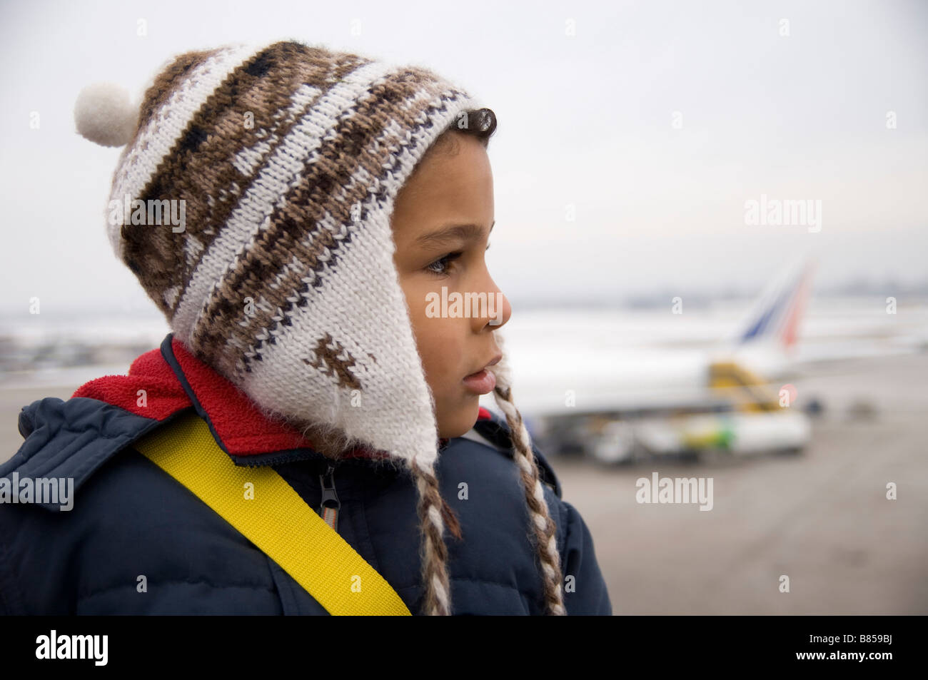portrait of little boy at airport - Stock Image