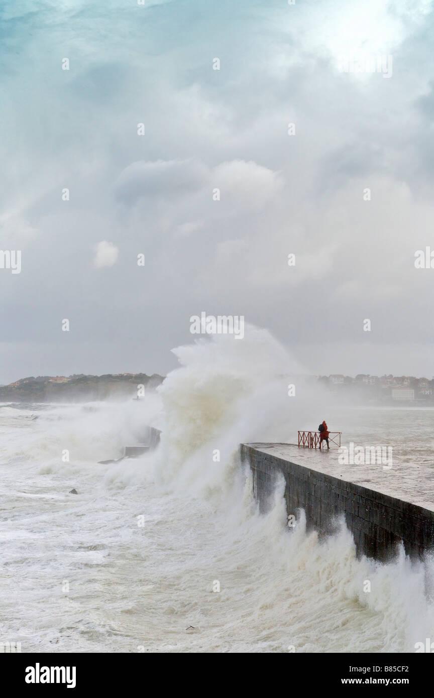 24 january 2009 KLaus storm breaking waves on Socoa dyke Pays Basque France Stock Photo