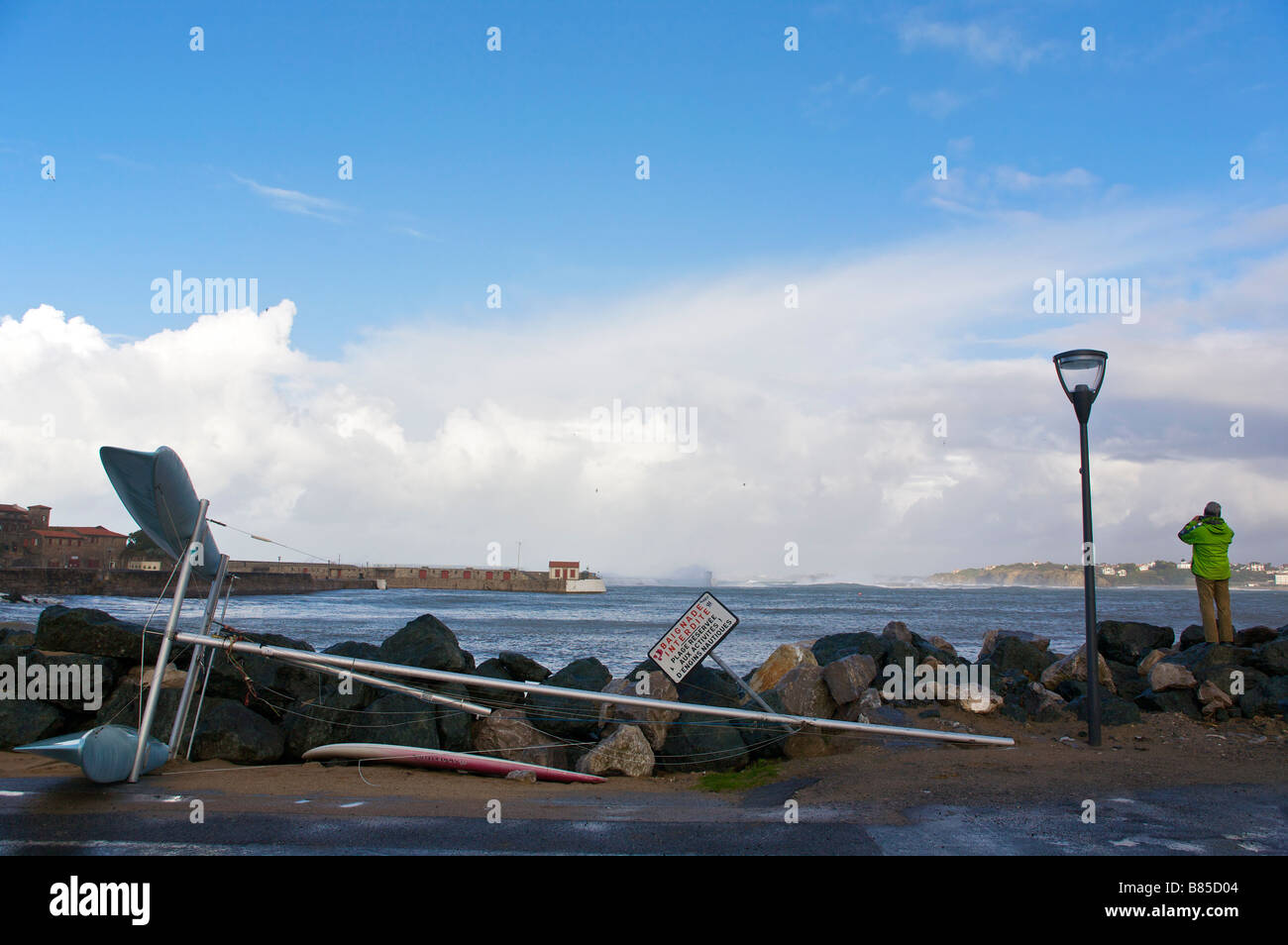 24 january 2009 KLaus storm damages in Socoa harbour Pays Basque France Stock Photo