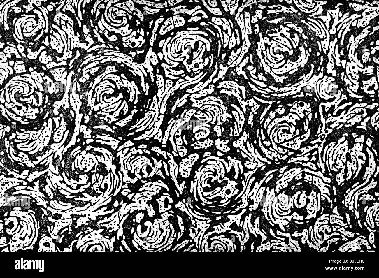 Black and white wallpaper pattern - Stock Image