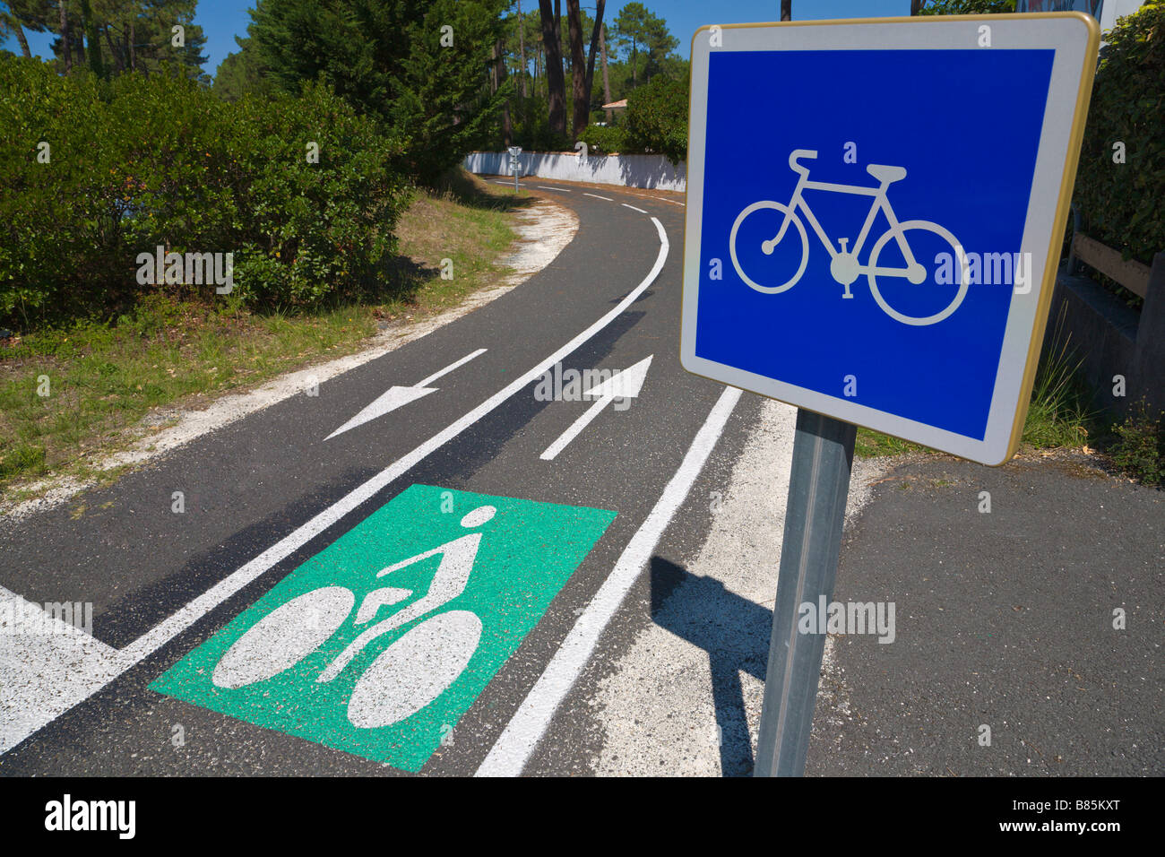 Cycle path, Gironde, France - Stock Image