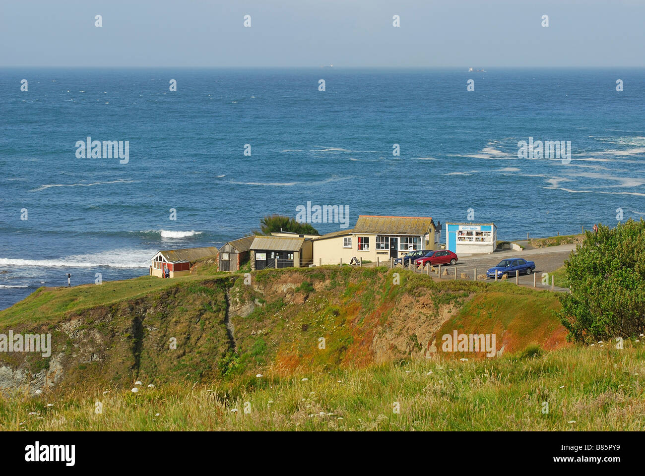 Most southerly cafe, Polpeor, Cornwall, UK - Stock Image