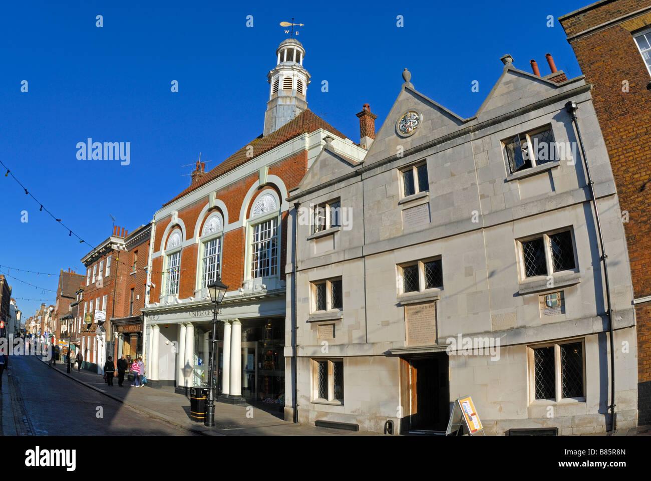 Richard Watt's House and Town Hall, Rochester High Street, Kent Stock Photo