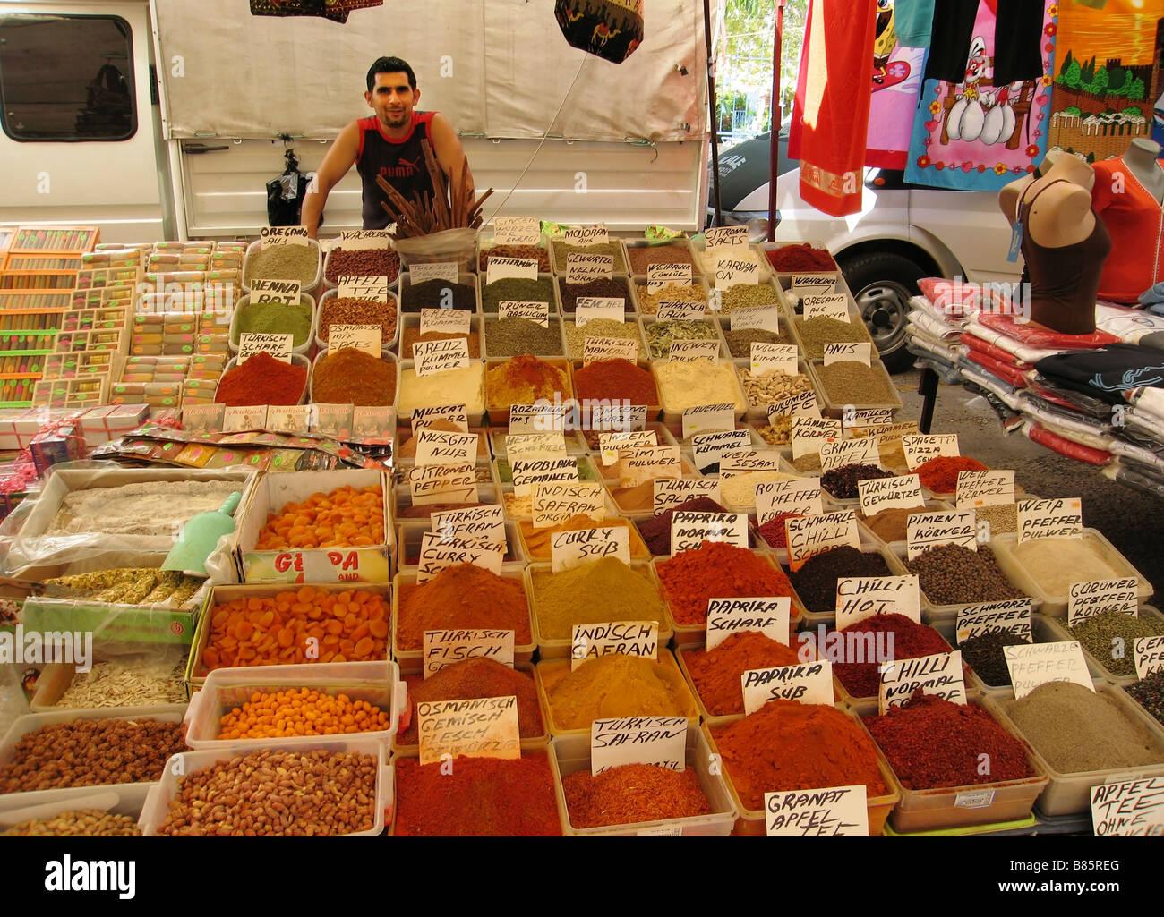 Street bazaar Alanya Turkey - Stock Image