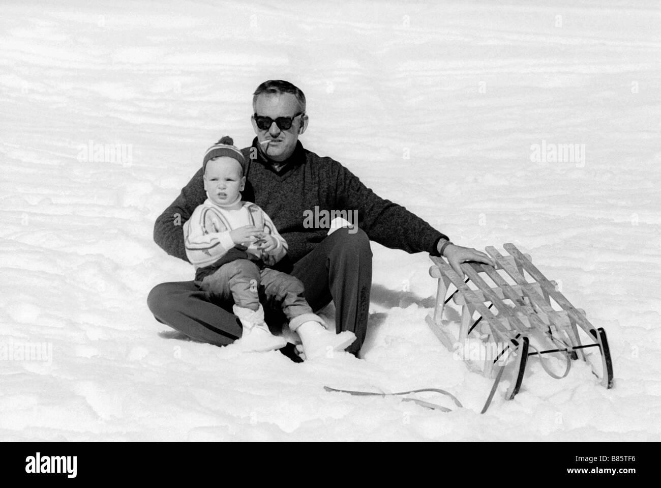 Rainier III and Albert of Monaco in Gstaad (1961) - Stock Image