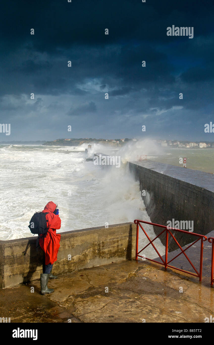 24 january 2009 KLaus storm breaking waves on Socoa dyke Pays Basque France Stock Photo