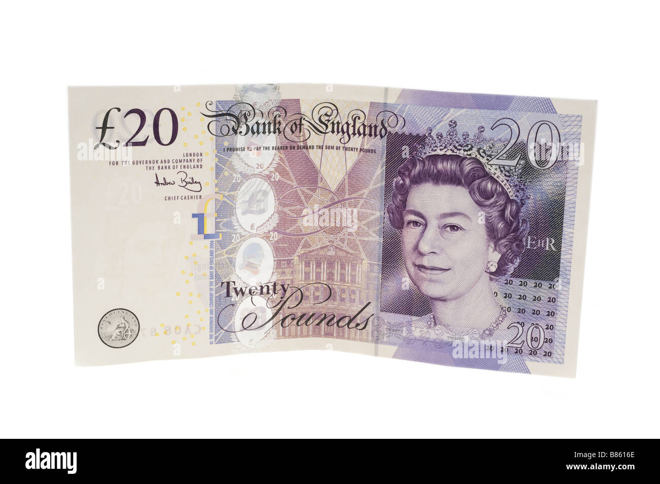Bank of England twenty pound note.  Editorial use only - Stock Image
