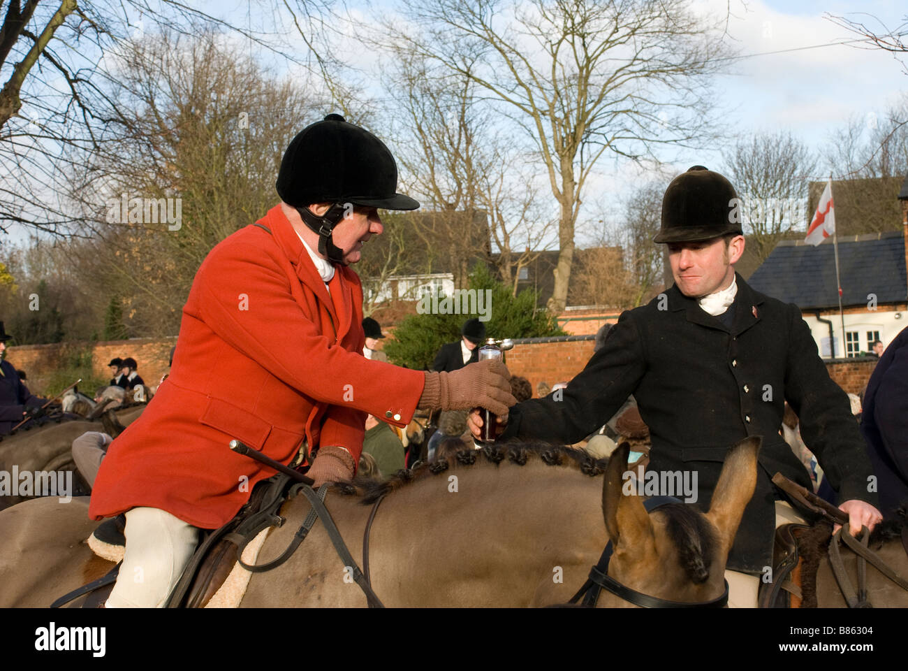 Horses of the Fernie Hunt at the traditional meet on Boxing Day Great Bowden Leicestershire - Stock Image