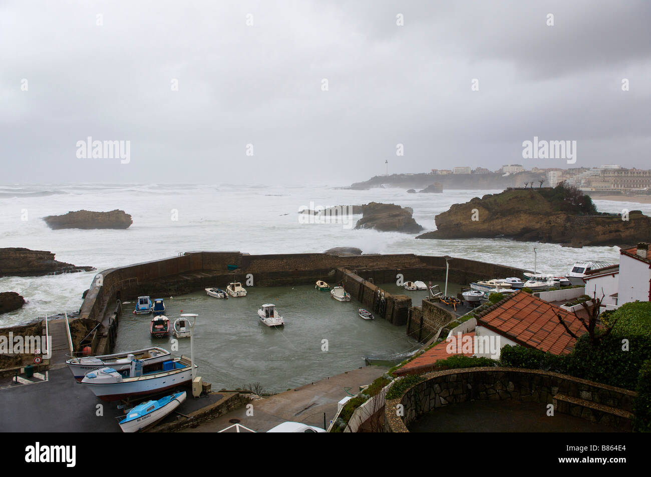 24 january 2009 KLaus storm in Biarritz the old harbour Pays Basque France - Stock Image