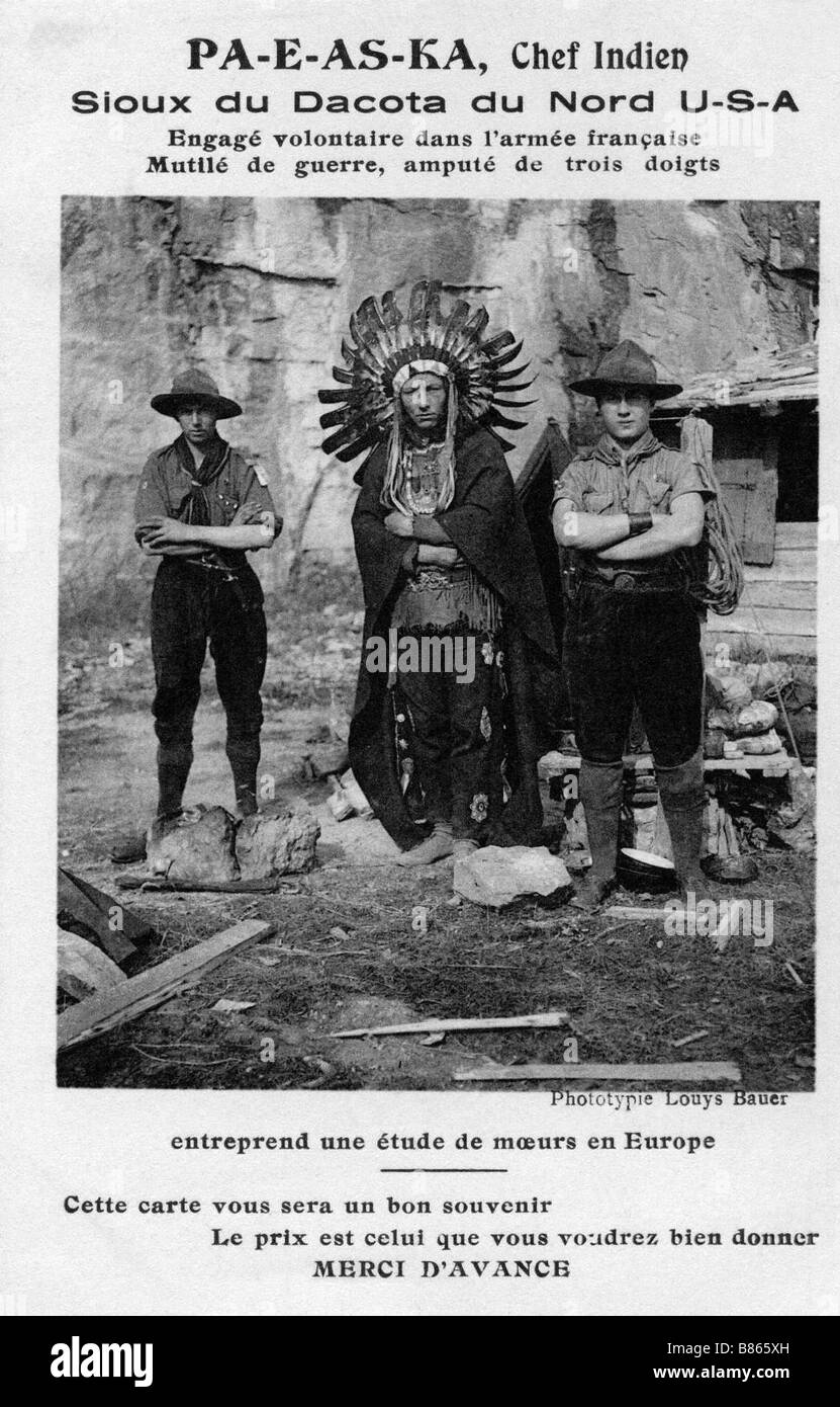 Postcard representing PA-S-AS-KA, Sioux Indian chief from North Dakota - Stock Image