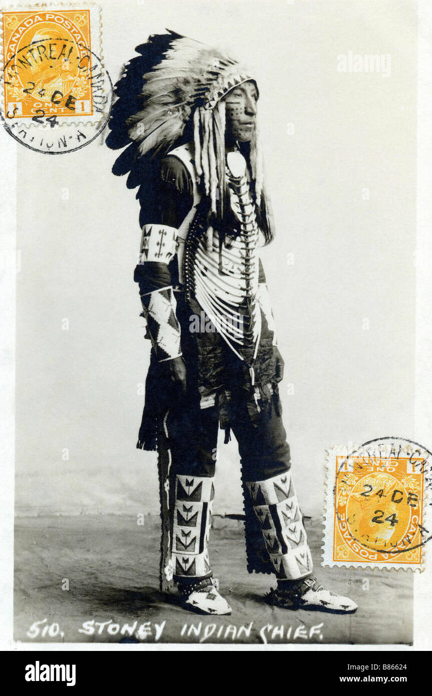 Postcard representing a Stoney Indian chief  (Indian from Canada) - Stock Image