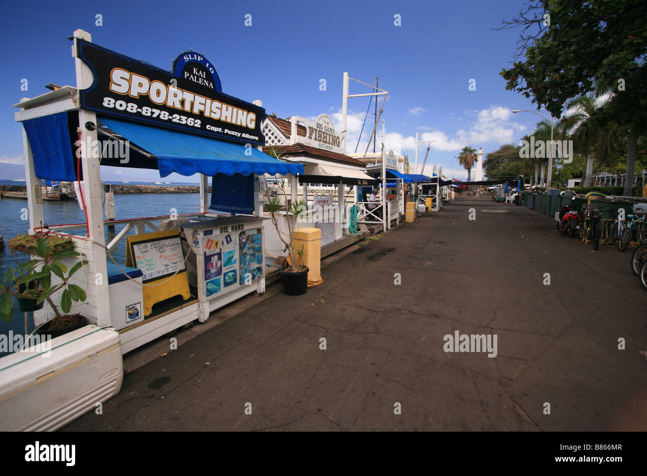 sportfishing marketplace along the water in Lahaina, Maui, Hawaii Stock Photo