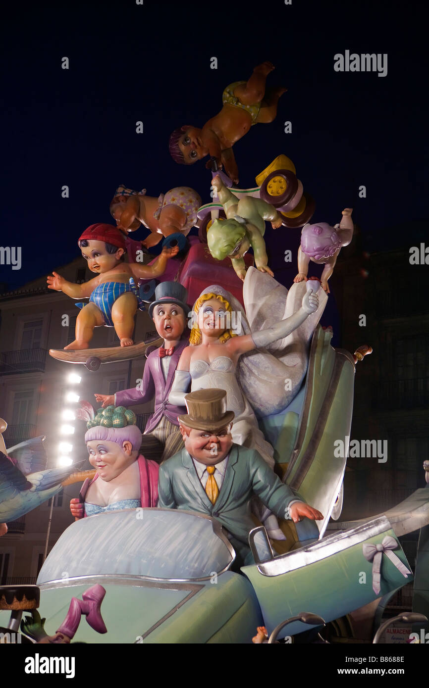 Figures of the Fallas in Valencia - Stock Image