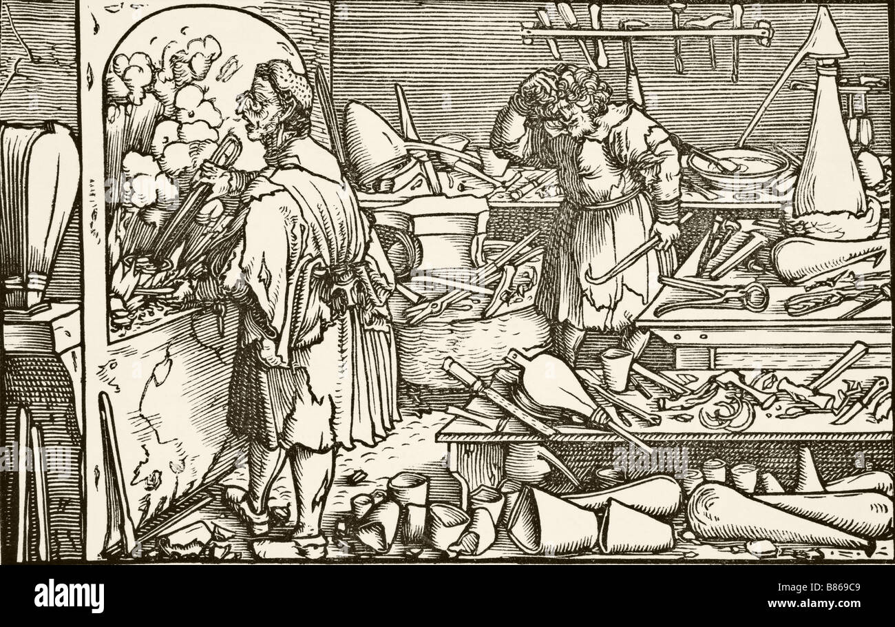 The German Alchemist after a 16th century wood engraving attributed to Holbein - Stock Image