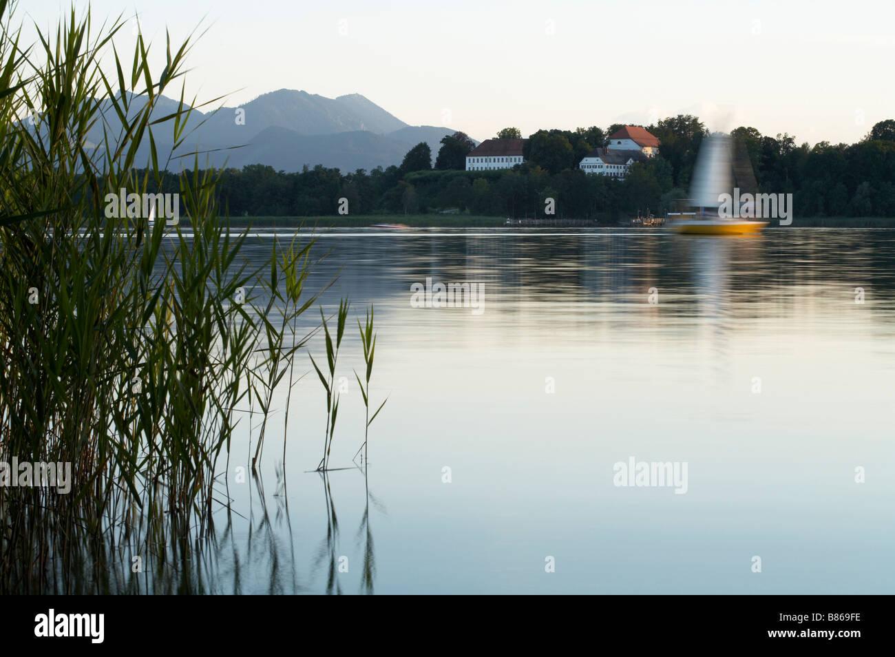 View of the Herren house on the island of Herr Herreninsel Lake chiem Chiemsee Upper Bavaria Gemany Europe 02 08 - Stock Image
