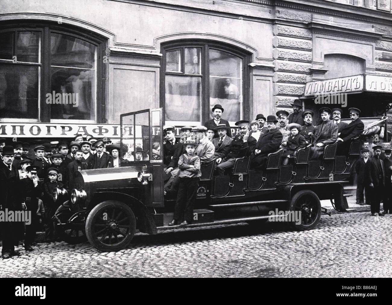 Saint-Petersburg, first Russian bus - Stock Image
