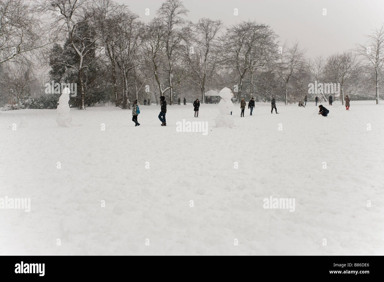 Winter background car cgi background snow snow men uk - Stock Image