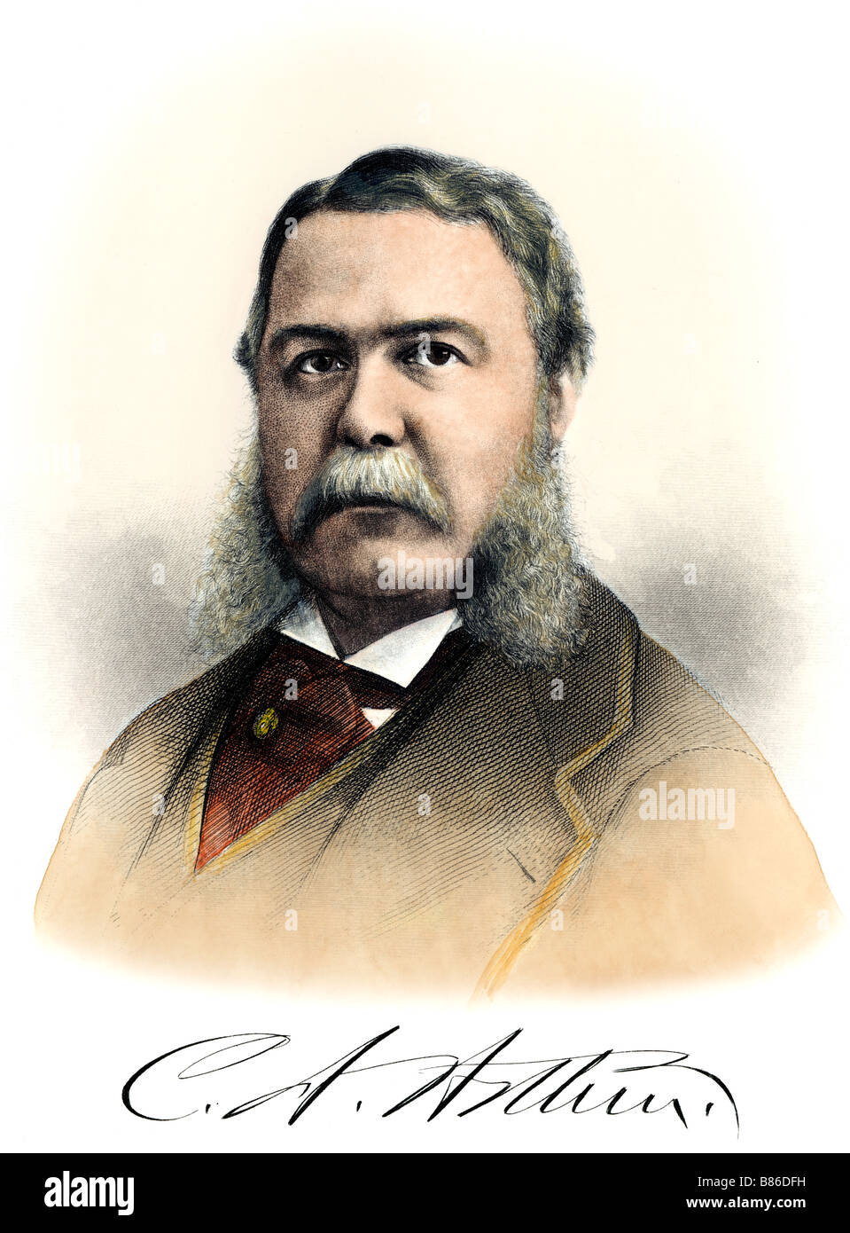 President Chester A. Arthur with his autograph. Hand-colored engraving - Stock Image