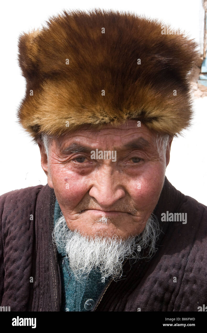 Portrait of Kyrgyz man. - Stock Image
