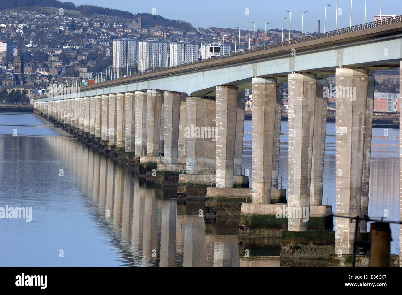 The Tay Bridge across the Tay river into Dundee City in Scotland. - Stock Image