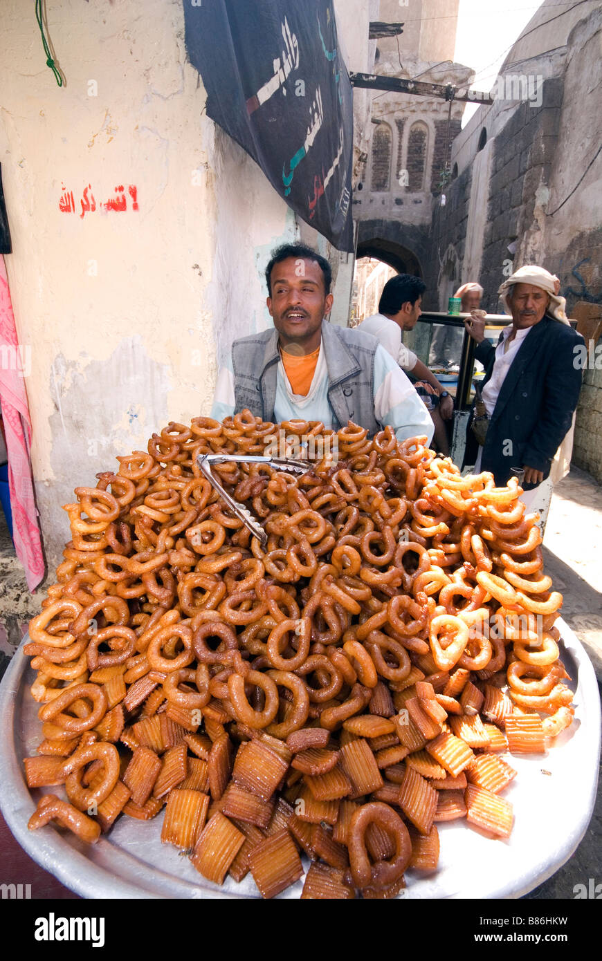 Market seller in Sanaa Yemen - Stock Image