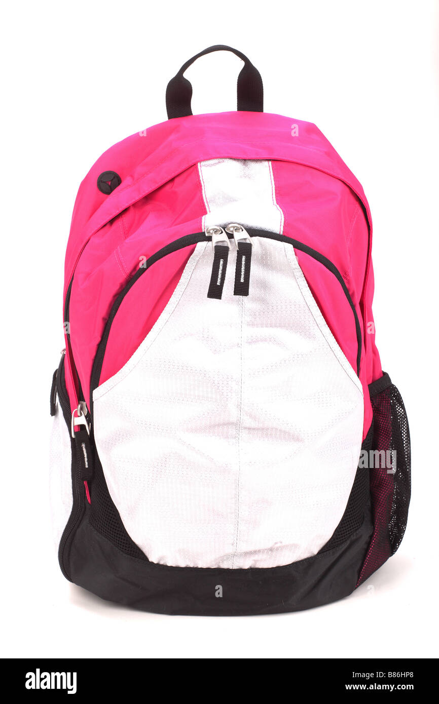Multicolored backpack Isolated on white - Stock Image