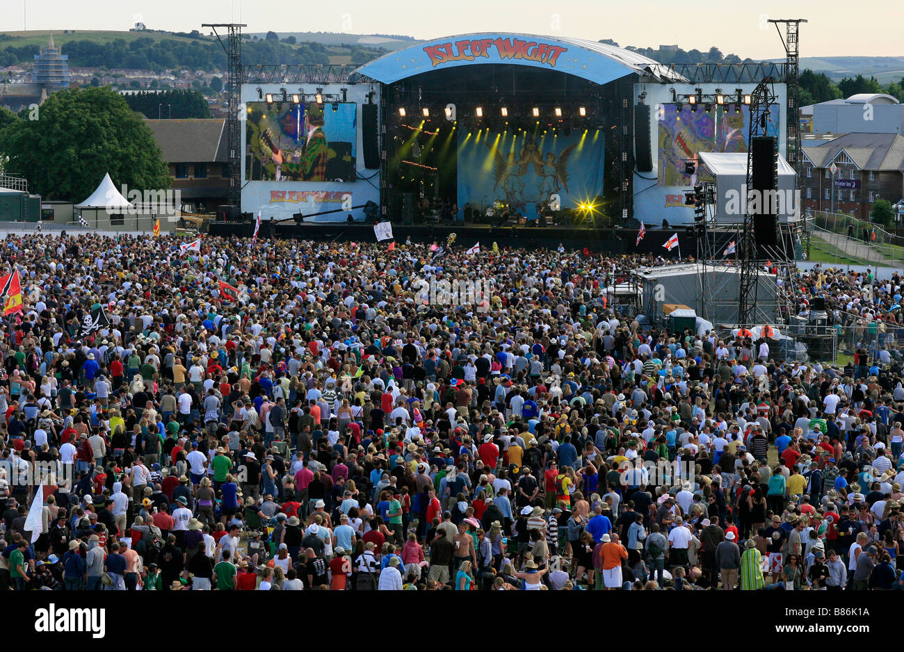 Crowds gather around the main stage at the 2008 Isle of Wight Festival in Newport on the Isle of Wight. Stock Photo