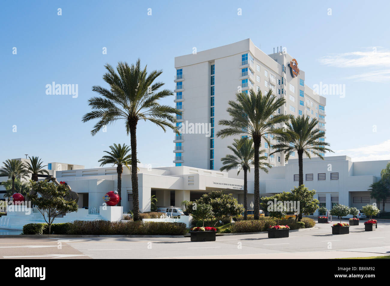 Entrance to the Seminole Hard Rock Hotel and Casino just outside Tampa, Florida, USA - Stock Image