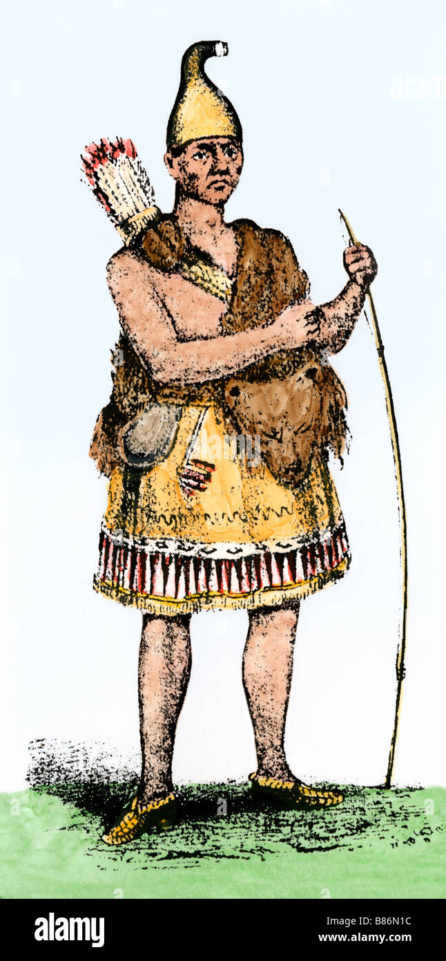 Pennacook chief known as Passaconaway the Bashaba. Hand-colored woodcut - Stock Image