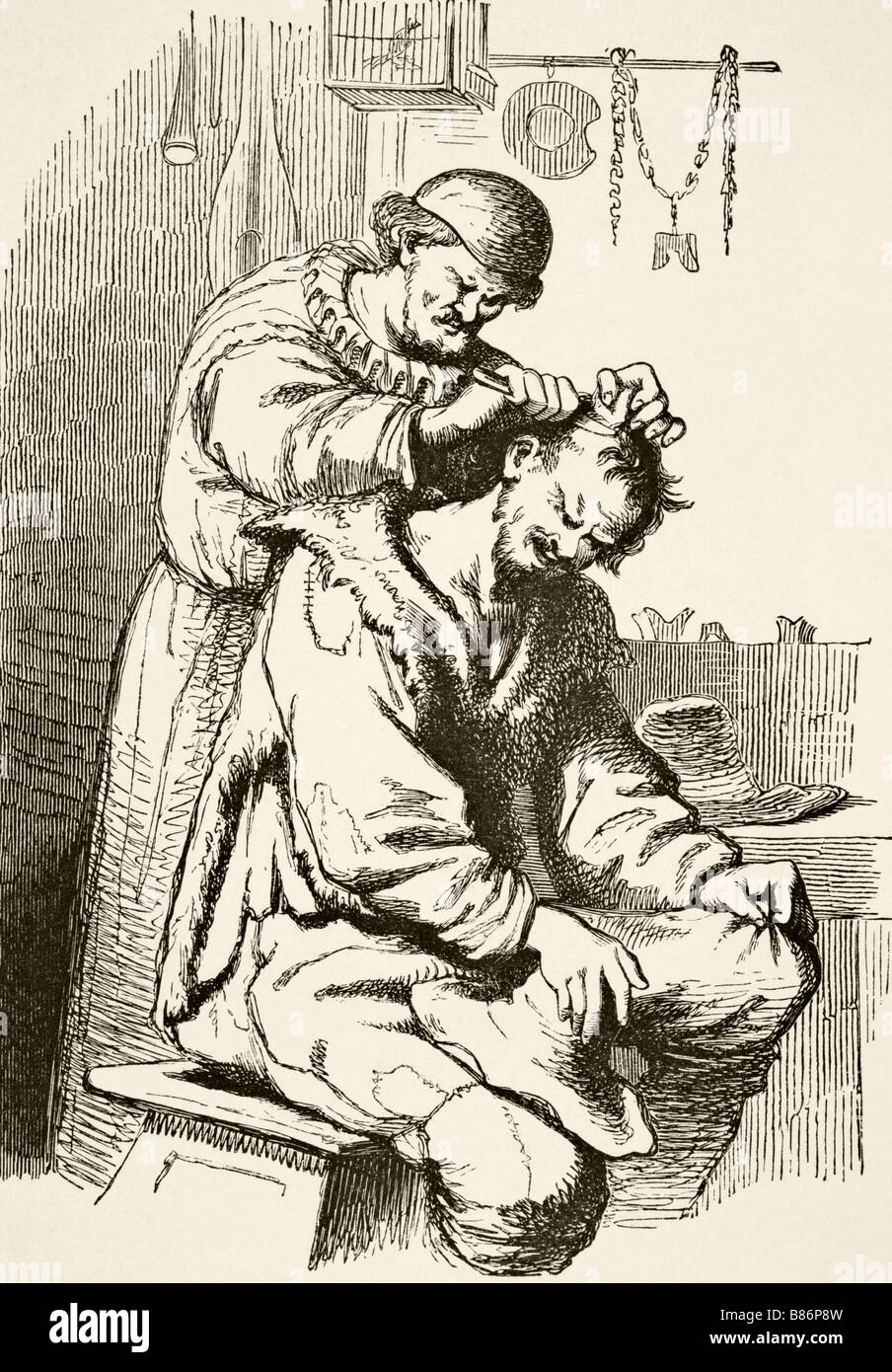 A doctor performing an operation After a 17th century engraving - Stock Image