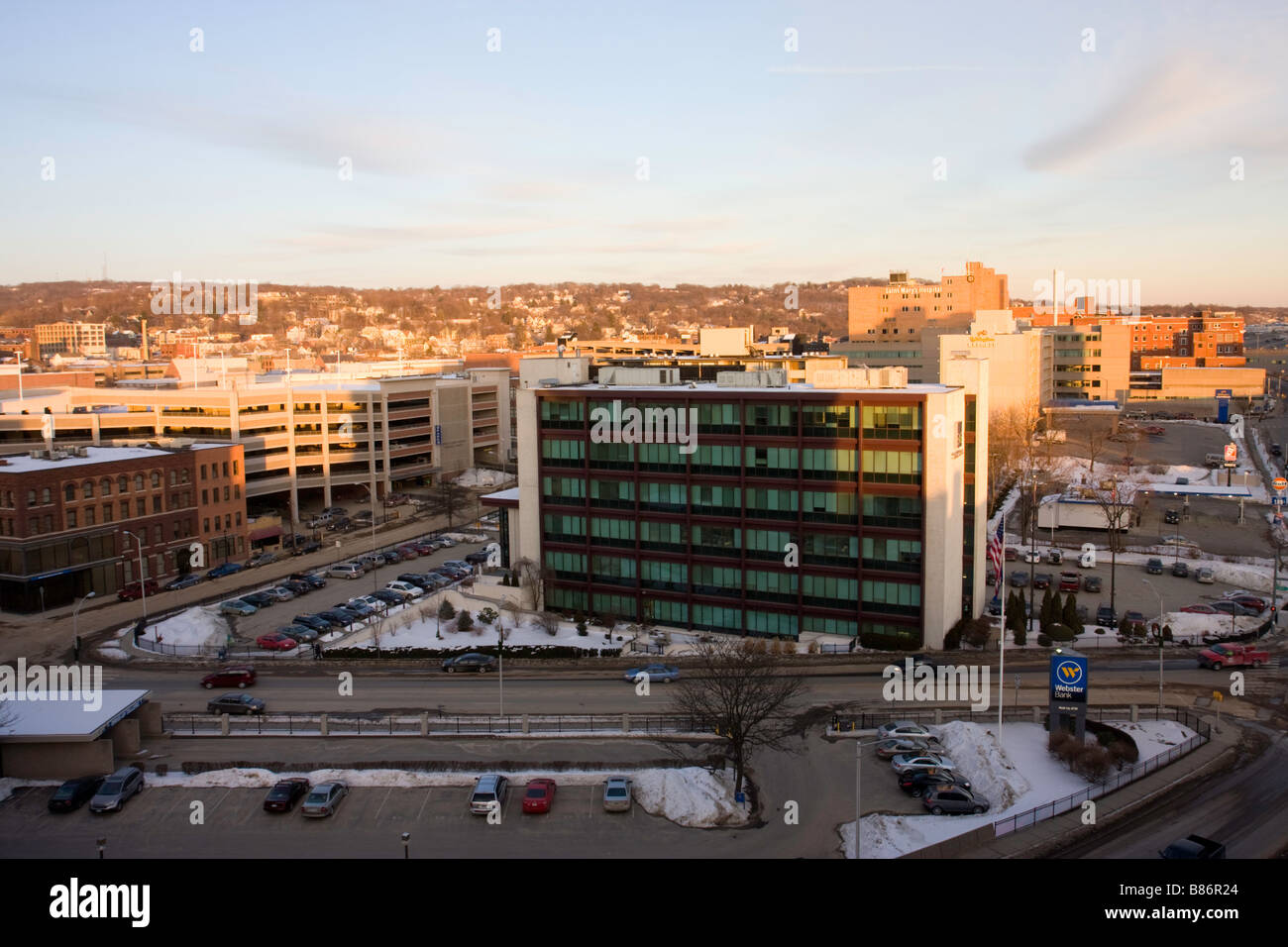 Waterbury business area in Connecticut USA - Stock Image