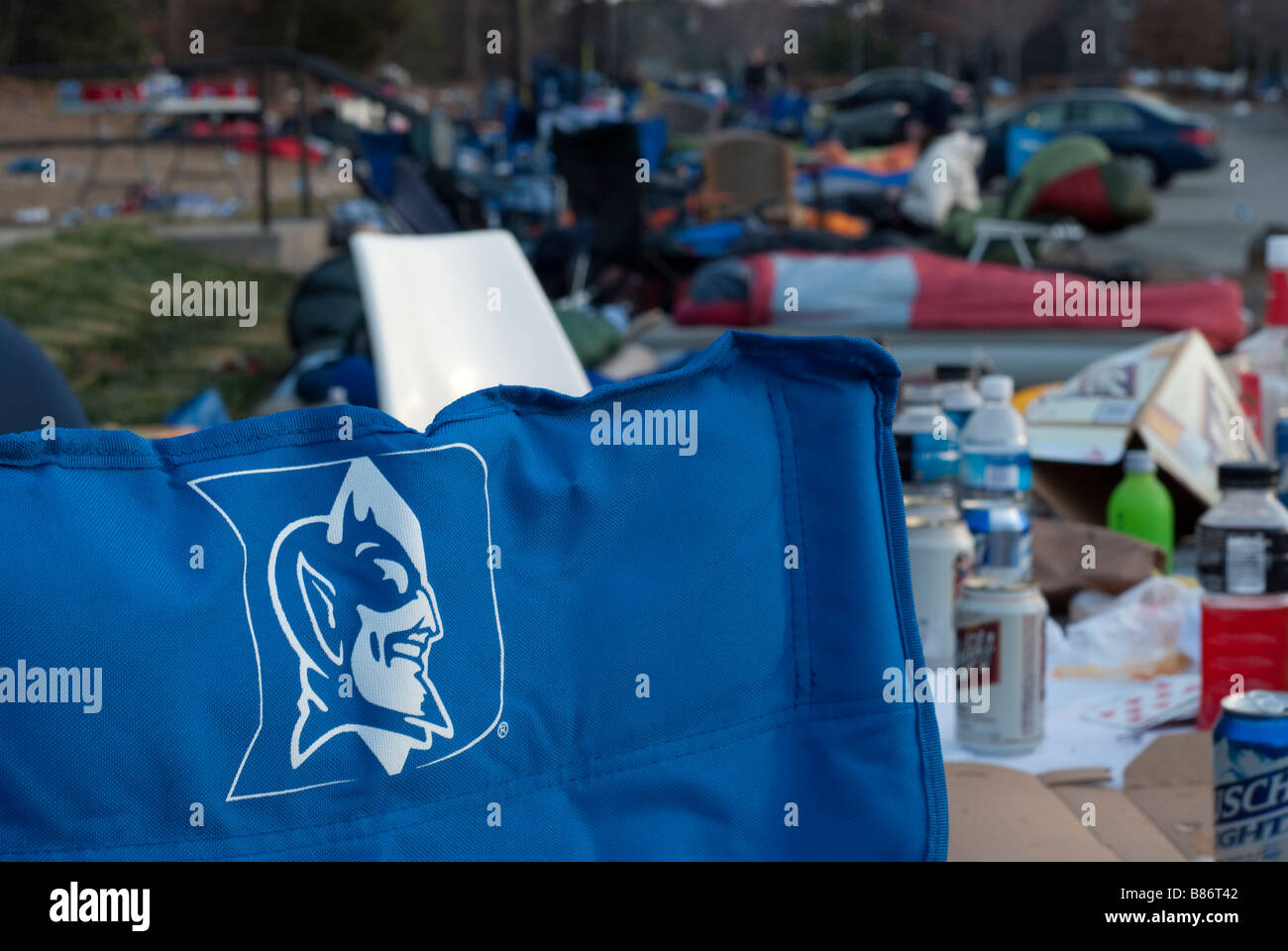 Students of Duke University camp out in front of Cameron Indoor Stadium before a Duke vs UNC Basketball game - Stock Image