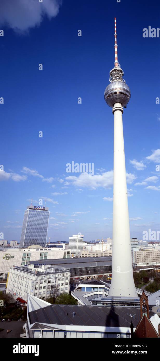 television tower east berlin alexander platz ddr - Stock Image