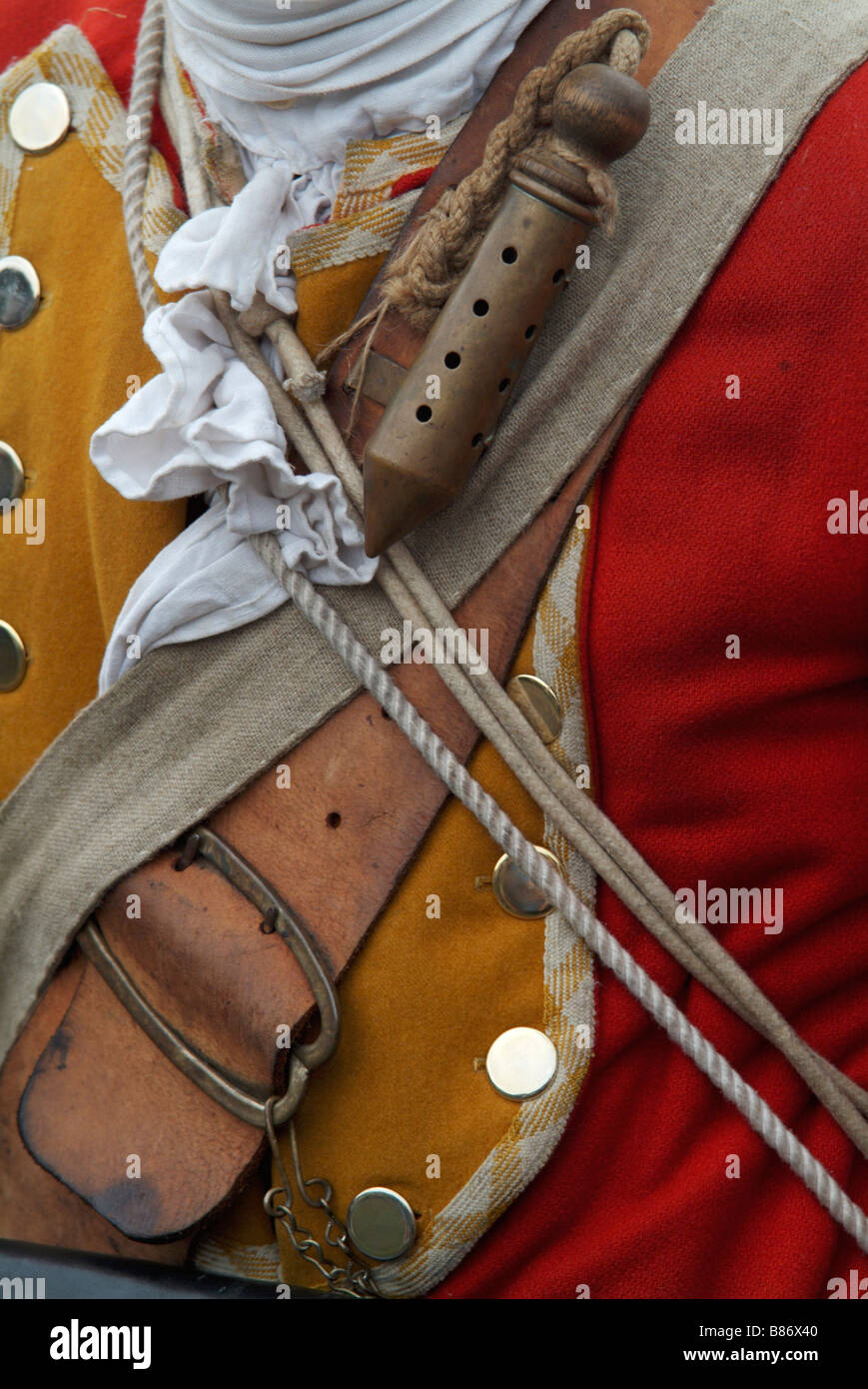 Close-up of the slow-match brass tube worn by a Grenadier at the 2008 re-enactment of the Battle of Prestonpans Stock Photo